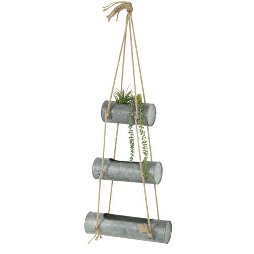 Galvanized Metal Hanging Planter Pots with Jute Rope
