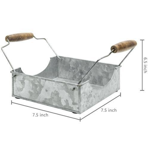 Galvanized Metal Napkin Holder with Wood Handles - MyGift