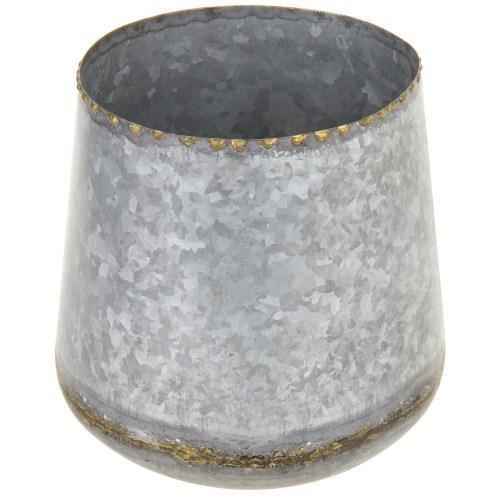 Galvanized Silver Metal Planter with Vintage Gold Tone Rim