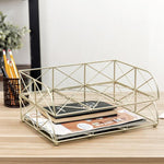 2-Tier Geometric Light Gold-Tone Metal Desktop Stacked Letter Tray - MyGift Enterprise LLC
