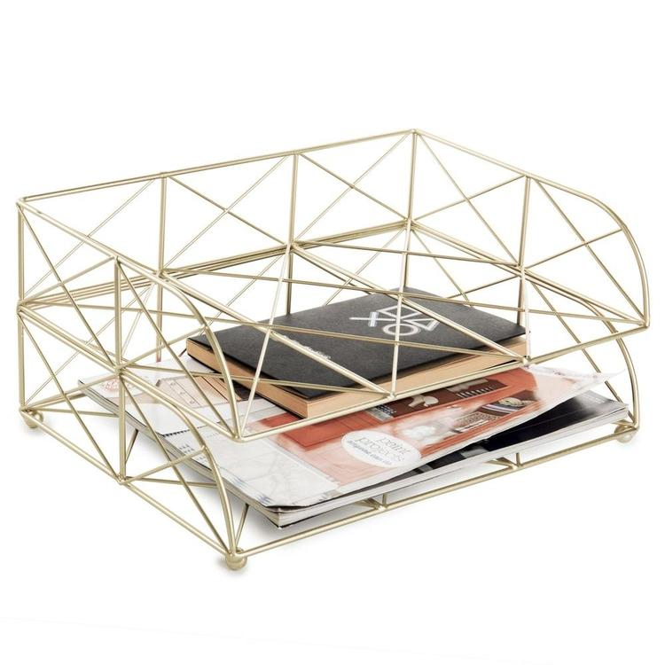 Geometric Light Gold Document Letter Tray