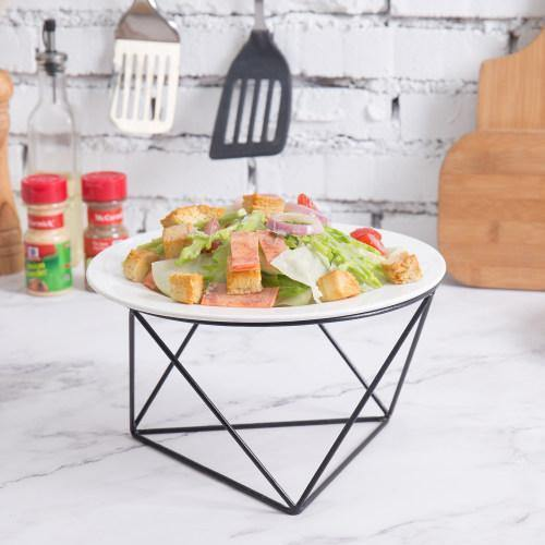 Geometric Matte Black Metal Wire Pizza Riser Stand, 10-inch - MyGift