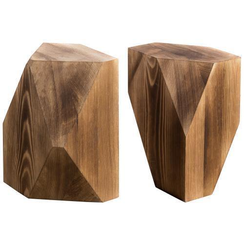 Geometric Style Wood Bookends