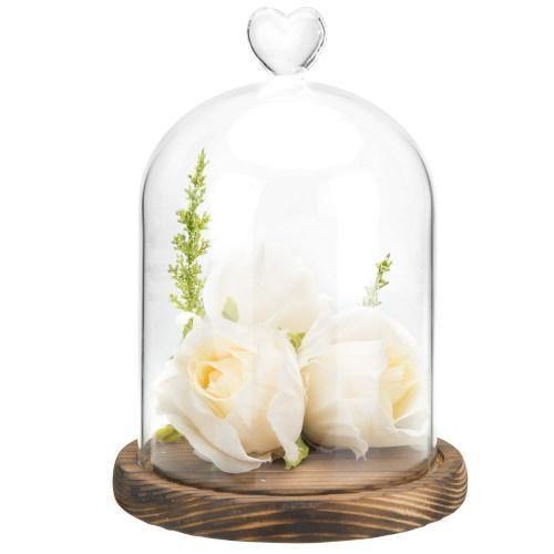 Glass Dome with Heart Handle & Dark Brown Wooden Base - MyGift