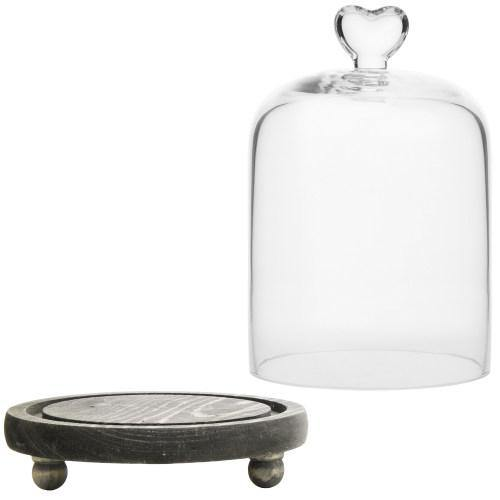 Glass Dome with Heart Handle & Gray Wooden Base