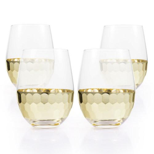Glass & Gold-Tone Hammered Design Stemless Wine Glasses, Set of 4