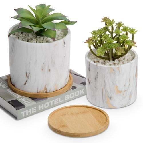 Gold Marble Cement Planters with Removable Bamboo Saucers, Set of 2 - MyGift