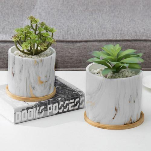 Gold Marble Cement Planters with Removable Bamboo Saucers, Set of 2