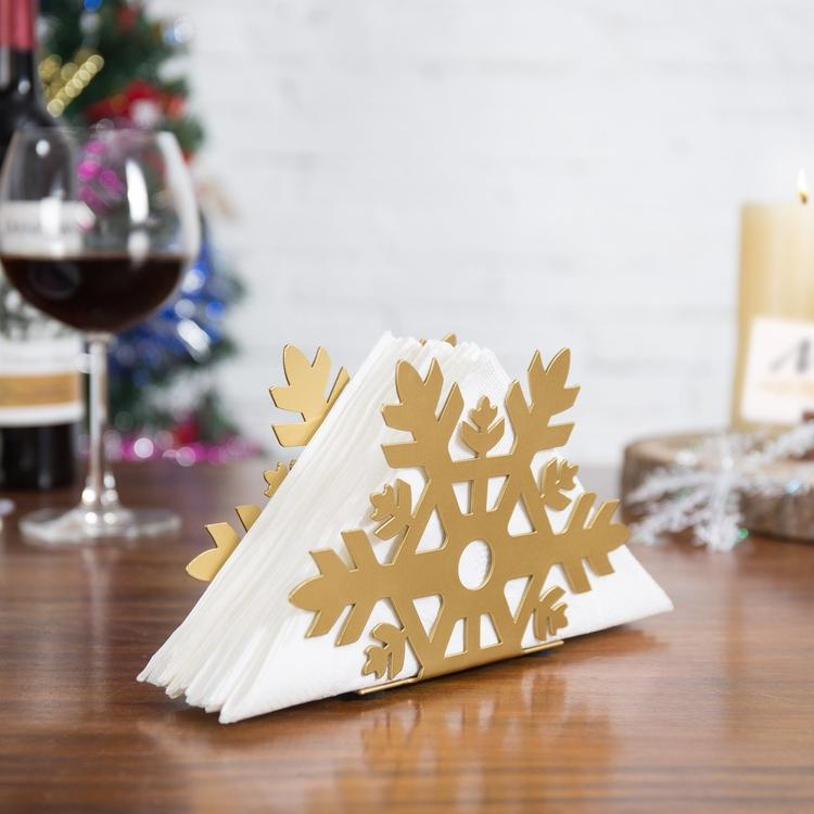 Gold Metal Snowflake Cutout Napkin Holder