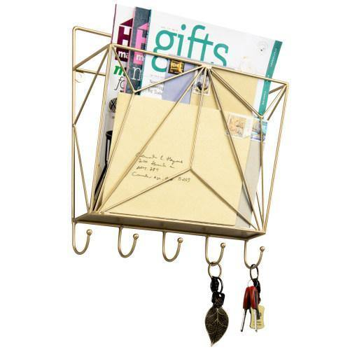 Gold Metal Wire Magazine Holder with Key Hooks - MyGift