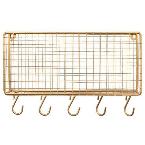 Gold Metal Wire Mail Sorter w/ 5 Removable Key Hooks - MyGift