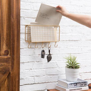 Gold Metal Wire Mail Sorter w/ 5 Removable Key Hooks