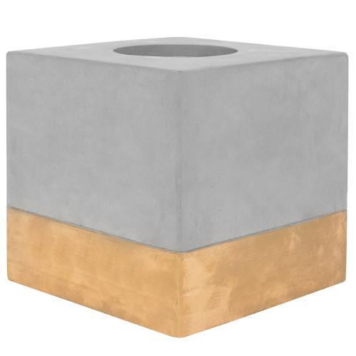 Gold-Tone & Gray Cement Tissue Box Cover, Square - MyGift