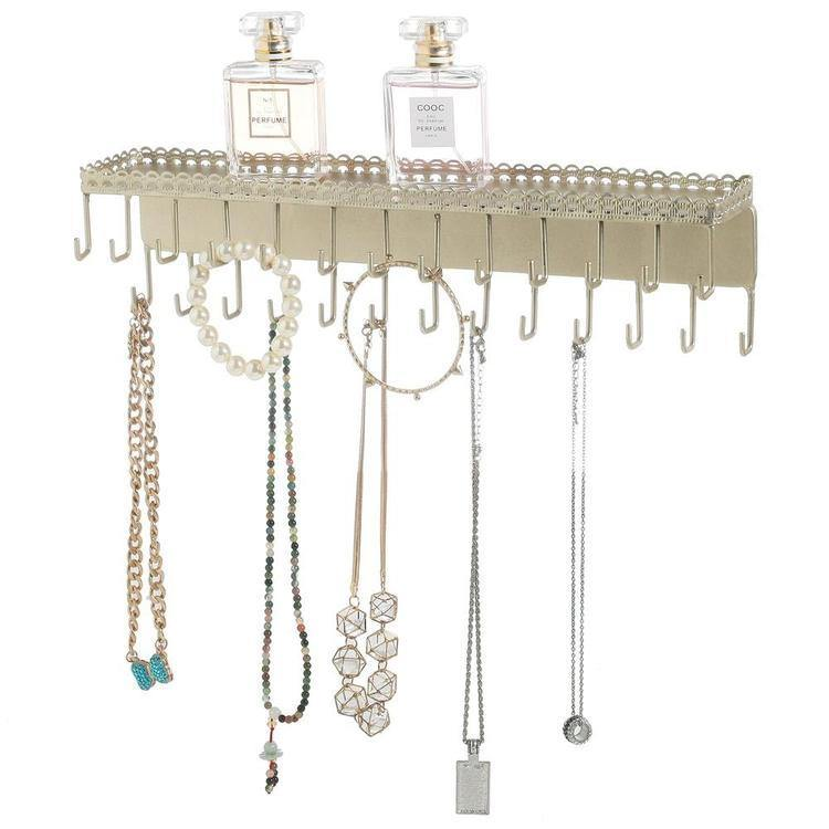 Gold-Tone Metal Jewelry Rack with Display Shelf - MyGift