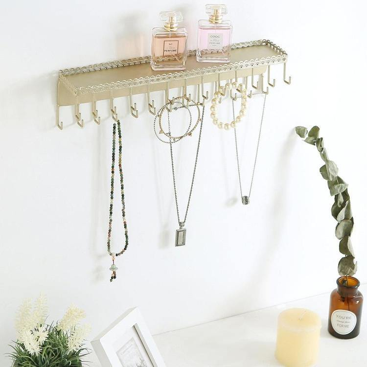 26-Hook Gold-Tone Wall-Mounted Metal Jewelry Organizer with Display Shelf - MyGift Enterprise LLC