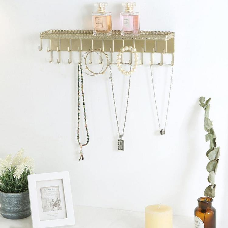 Gold-Tone Metal Jewelry Rack with Display Shelf