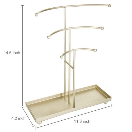 Gold-Tone Necklace Stand with Ring Tray