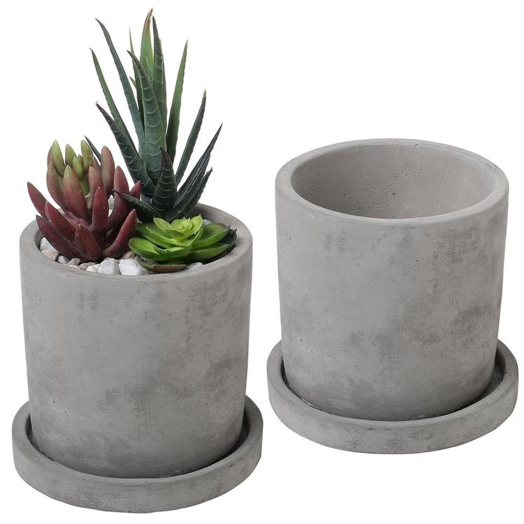 Gray Cement Planter Pots with Saucers, Set of 2
