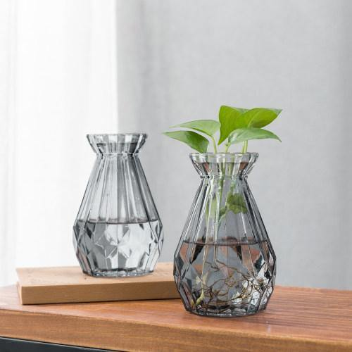 Gray Glass Diamond-Faceted Flower Vases, Set of 2