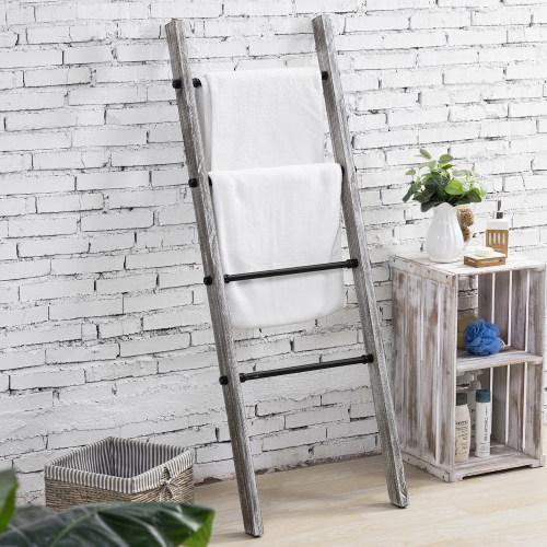 Gray on White Wood & Metal Towel Ladder - MyGift