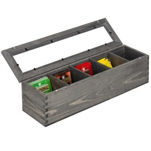 Gray Solid Wood 5-Compartment Tea Bag Box - MyGift