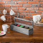 Gray Solid Wood 5-Compartment Tea Bag Box