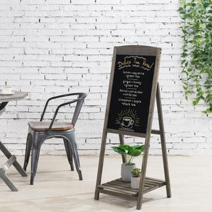 Gray Wood A-Frame Chalkboard Sign with Shelf