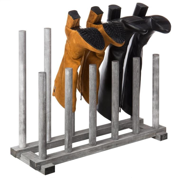 Rustic Graywashed Wood Inverted 6-Pair Boot Rack - MyGift Enterprise LLC