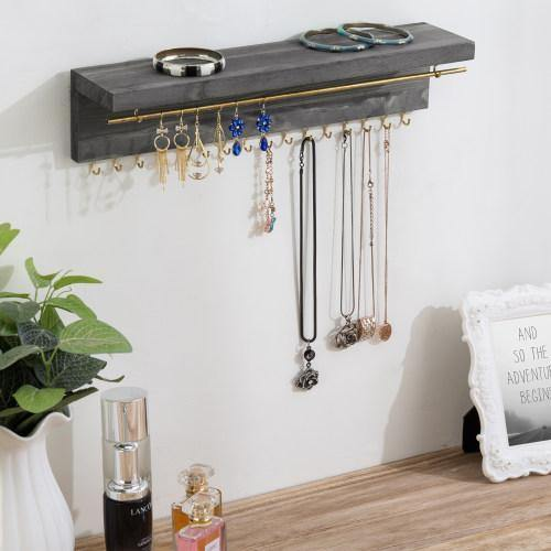 Gray Wood & Brass Metal Wall Mounted Jewelry Display Rack