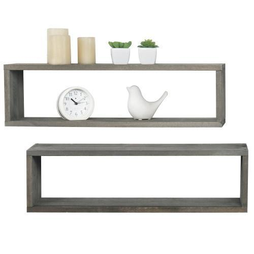 Gray Wood Cubby Floating Shelves, Set of 2 - MyGift