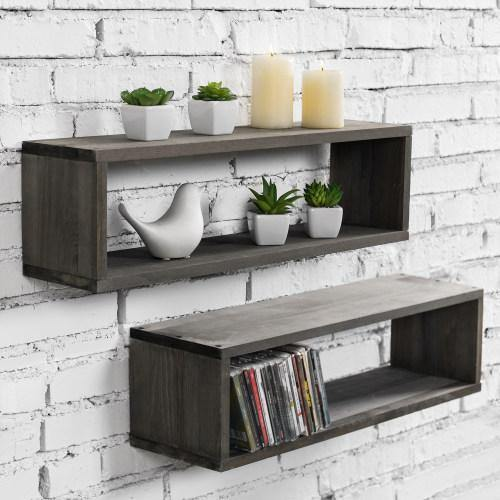 Gray Wood Cubby Floating Shelves, Set of 2