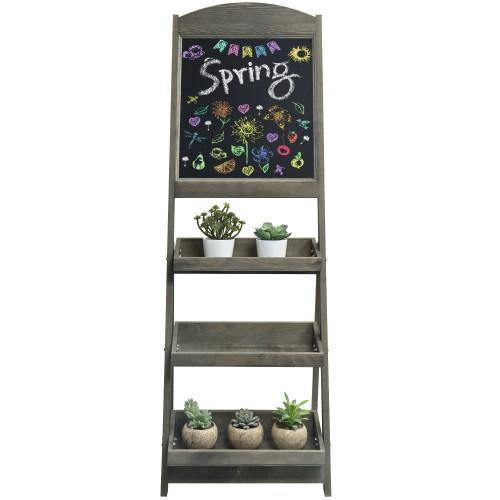 Gray Wood Freestanding Chalkboard Easel with Display Shelves - MyGift