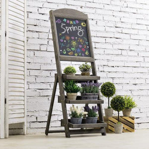 Gray Wood Freestanding Chalkboard Easel with Display Shelves