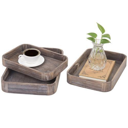 Gray Wood Nesting Serving Trays with Rounded Edges, Set of 3 - MyGift