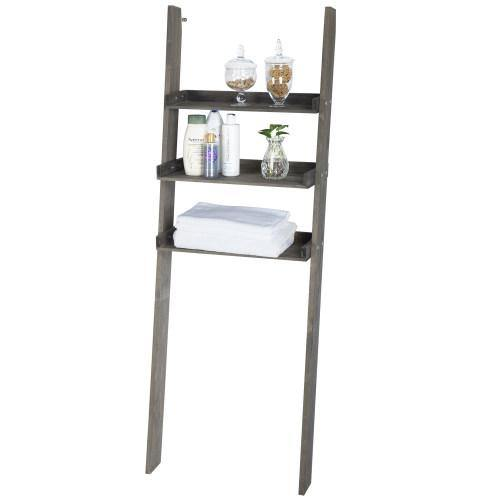 Gray Wood Over-The-Toilet Ladder Shelf