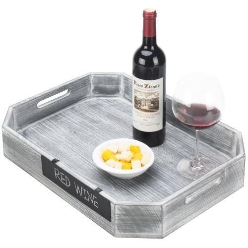 Gray Wood Serving Tray with Metal Chalkboard Label - MyGift