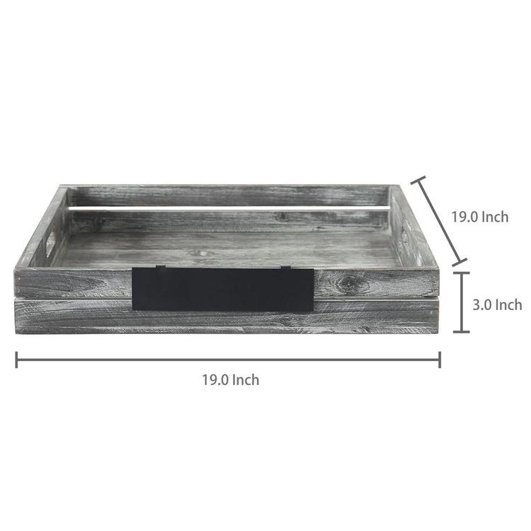 Whitewashed Wood Serving Tray with Handles & Removable Metal Chalkboard Label - MyGift Enterprise LLC