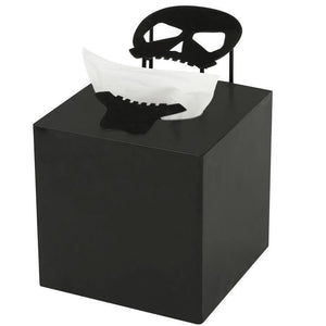 Halloween Decorative Gothic Skull Black Metal Square Tissue Box Cover Holder