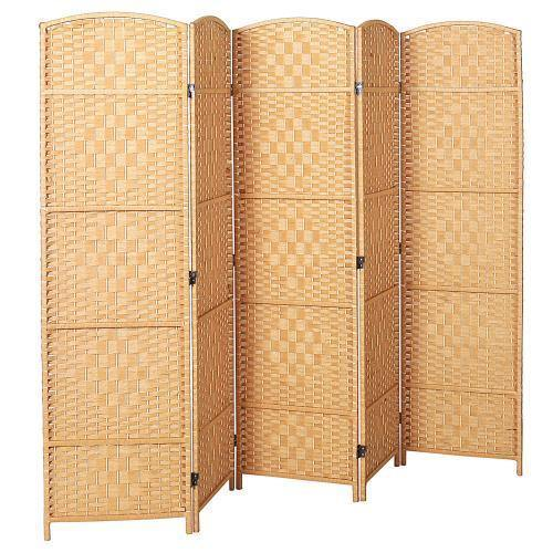 Handwoven Bamboo 5 Panel Room Divider