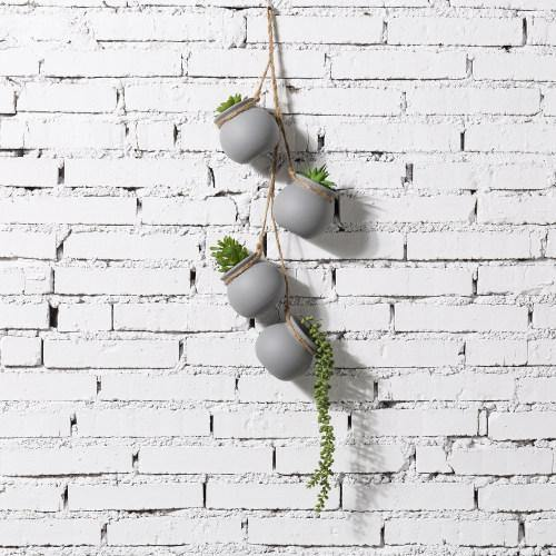 Hanging Mini Planter Pots, Gray - MyGift