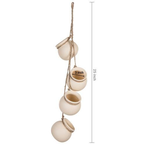 Hanging Mini Planter Pots, White - MyGift