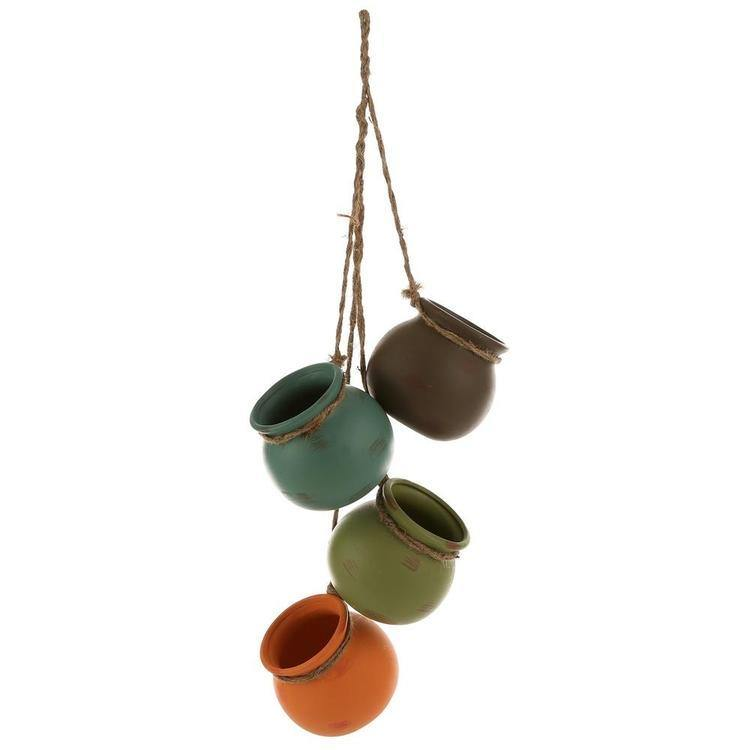 Hanging Multicolor Mini Ceramic 4 Planter Set - MyGift