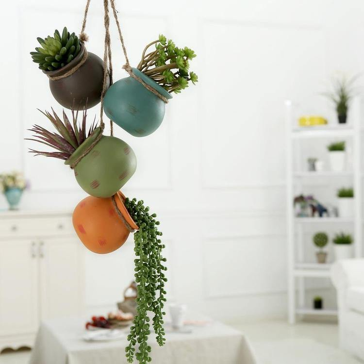 Hanging Multicolor Mini Ceramic 4 Planter Set