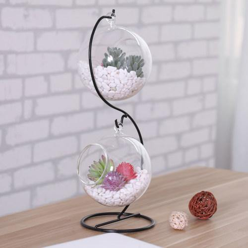 Hanging Planter Glass Terrarium, 2 Glass Bowls