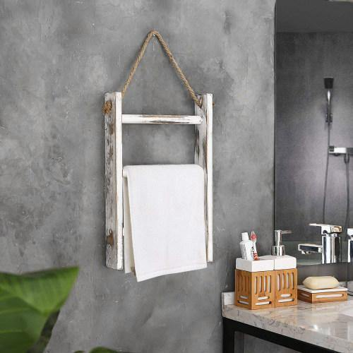 Hanging Whitewashed Wood Towel Ladder, Set of 2