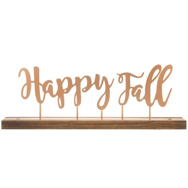 """Happy Fall"" Copper-Tone Metal & Rustic Burnt Wood Decorative Mantel Sign"