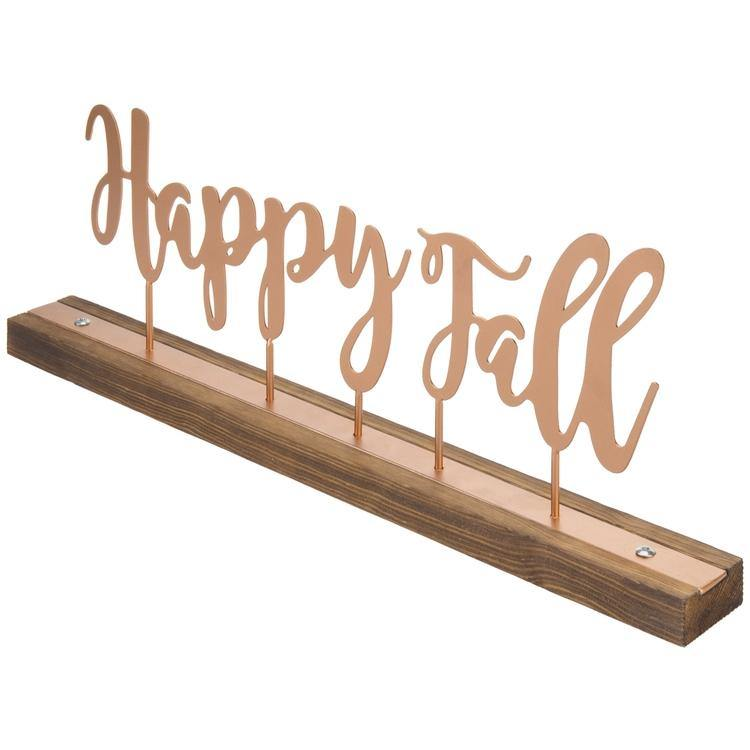 """Happy Fall"" Copper-Tone Metal & Rustic Burnt Wood Decorative Mantel Sign - MyGift"