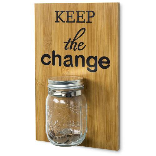 Natural Bamboo Wall Mounted Coin Saver Mason Jar-MyGift