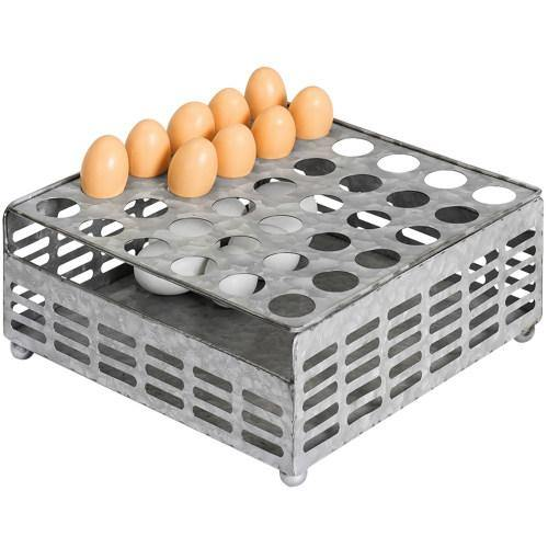 Rustic Silver Galvanized Metal Eggs Tray and Storage Basket - MyGift