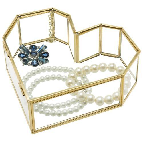 Heart-Shaped Glass & Brass Vanity Jewelry Box with Lid